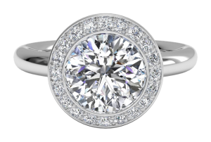 Rose Gold Ritani Bezel Set Halo Diamond Solitaire