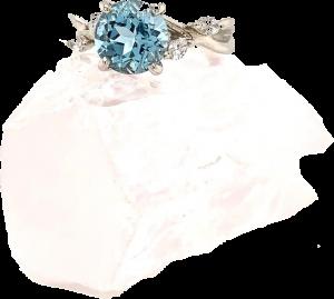 New Year's Eve - aquamarine 2ct diamond ring